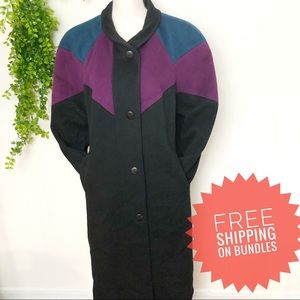 Vintage Wool Jewel Tone Colorblock Trench Coat Med